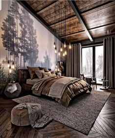 For those looking to make their bedroom look good, adopting a modern bedroom design style isn't actually a bad idea. Here are some easy ways you can redo your bedroom - Home Decor Dark Cozy Bedroom, Bedroom Modern, Bedroom Rustic, Bedroom Small, Minimalist Bedroom, Rustic Master Bedroom Design, Bedroom Ideas For Couples Modern, Forest Bedroom, Tranquil Bedroom