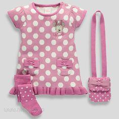 Nydelig finstrikket kjole med matchende strømpebukse og veske - Minnie Mus