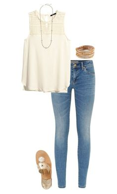 """""""cute outfit"""" by sassy-and-southern ❤ liked on Polyvore featuring Burberry, H&M, Jack Rogers, NAKAMOL and Kendra Scott"""