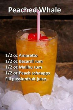 Liquor Drinks, Cocktail Drinks, Cocktail Recipes, Alcoholic Drinks, Refreshing Drinks, Summer Drinks, Peach Schnapps, Alcohol Drink Recipes, Juice Recipes