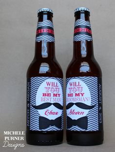 Set of 5 - Peel-and-Stick - Will you be my Groomsman and Best Man - BEER BOTTLE LABELS - Printed & Shipped via Etsy