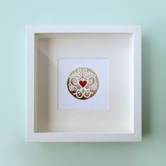 ab7d39c169a0 Gold   Ruby Jammy Heart Foil Print - by Nikki McWilliams Ribba Frame