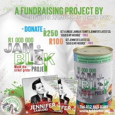 """Help us raise R1 000 000 for charity with the """"JAMBLIK"""" Project – a fundraising project by @Jennifer Zamudio and Tekkie Tax. For a donation of R250 you receive Jennifer's CD and a Limited Edition """"JAMBLIK Projek"""" T-shirt FREE or R100 you will receive Jennifer's latest CD FREE. Contact us on 012 663 8181 or visit www.tekkietax.org  #tekkietax #makethecirclebigger #takehands #lovingtekkies #jamblikprojek South African Celebrities, Long Term Care Insurance, Disability, Fundraising, Grateful, Charity, How To Find Out, Wings, Portraits"""