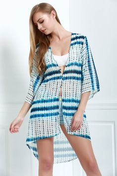 Wide Sleeve Chiffon Cover-Up