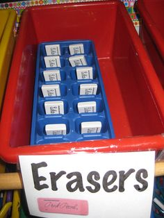 Awesome idea for eraser snatchers! The erasers I bought for my art class have all but disappeared.storing them in an ice cube tray makes them easy to count! Art Classroom Management, Organization And Management, Classroom Organisation, Classroom Design, School Organization, Classroom Ideas, Classroom Projects, Classroom Rules, Class Management