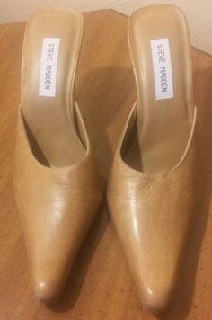 Steve Madden Woman Shoe Leather High Heel Beige Classic Size 9  #SteveMadden…