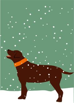 chocolate lab in snow 8 x 10 print in 11 x 14 inch mat great gift under 25. $25.00, via Etsy.
