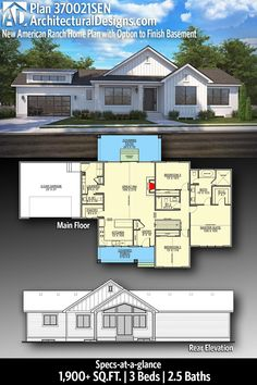 Architectural Designs New American One-Story House Plan 370021SEN - 1900 Square Feet, 3 Bedrooms, 2.5 Baths. Click the pin to learn more or visit www.architecturaldesigns.com/370021SEN Ranch House Plans, Country House Plans, New House Plans, Modern House Plans, House Architecture Styles, Architecture Design, Rocking Chair Porch, Oliver Twist, Beautiful Home Designs