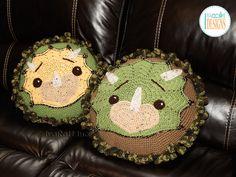 Triceratops Dino Dinosaur Pillow Crochet Pattern by IraRott