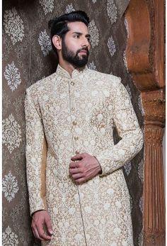 Wedding Sherwani-Cream & Gold-SH256