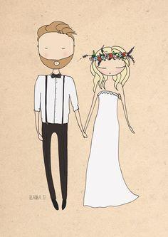 custom wedding portrait wedding anniversary by Blankaillustration