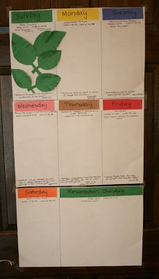 Holy Week Calendar. Good selection of scripture passages, just right for one-a-days during Holy Week. Could upgrade the activities for each day tho. ...but best i've seen this year...