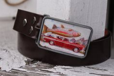 retro trout buckle with belt by BuckleMeBlues on Etsy, $15.00