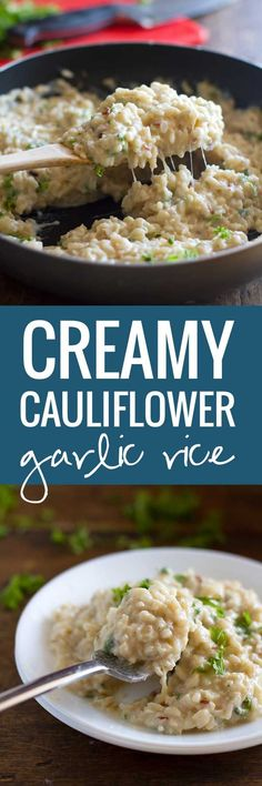 Creamy Cauliflower Garlic Rice to get a free eCookbook with our top 25 recipes.This creamy cauliflower garlic rice is simple, healthy, and so surprisingly good. Side Dish Recipes, Vegetable Recipes, Vegetarian Recipes, Cooking Recipes, Healthy Recipes, Healthy Brown Rice Recipes, Healthy Cauliflower Recipes, Healthy Food Alternatives, Healthy Rice