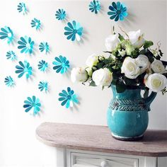 Set of 12 Flowers 3D Wall Decorations, Blue