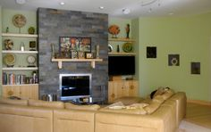 fireplace shelving   Our Home Remodel: A Modern Take on Frank Lloyd Wright's Prairie ...
