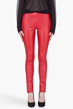 oohh red leather leggings