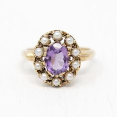 Sale - Genuine Amethyst Ring - Vintage Rosy Yellow Gold CT Seed Pearl Halo Size 6 - Art Deco Purple Gemstone February Jewelry by Maejean Vintage Art Deco Ring, Art Deco Jewelry, Fine Jewelry, Jewellery, Engagement Rings Under 500, Deco Engagement Ring, Amethyst Jewelry, Gemstone Jewelry, Pearl Gemstone
