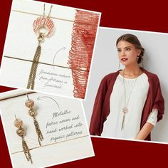 OCTOBER COLOR CLUB!! Amazing rich, bold necklace paired with delicate tasseled earrings, sure to be a stunner!