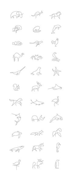Set of animal logos / icons made in one line Tattoos quotes Tattoos fonts Tattoos sleeve neck Tattoo Trendy Tattoos, Cute Tattoos, New Tattoos, Body Art Tattoos, Girl Tattoos, Small Male Tattoos, Small Animal Tattoos, Little Tattoos, Animal Tattoos