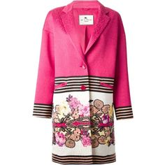 Etro floral and stripe print coat ($1,674) ❤ liked on Polyvore featuring outerwear, coats, pink, stripe coat, etro, pink coat, pattern coat and floral print coat