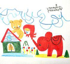 朝の手描き。ここまでしてお尻ナメる?#littlepero #ペロずきん #illustration #イラスト #かわいい #kawaii #elefant #お尻 #hip