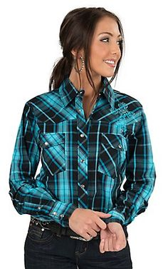 Cowgirl Hardware Women's Turquoise & Black Plaid with Cross Embroidery Long Sleeve Western Shirt Country Wear, Country Girls Outfits, Country Girl Style, Western Girl, Western Wear, Cowgirl Outfits, Cowgirl Clothing, Cowgirl Fashion, Pretty Outfits