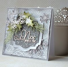card christmas holly leaves leaf berries berry frosted snowflake Dorota _mk: Cicha noc...