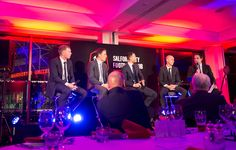 The Class of 92 doing a Q&A. Make Events providing the lighting, audio visual, branded stage set and table decor www.makeevents.co.uk
