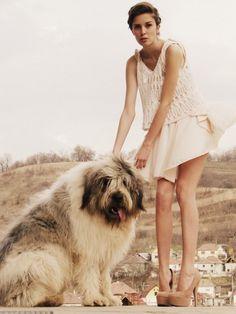 crochet top, nude dress, cute dog