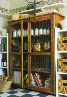 Côté Ouest Aout-Sept 2005 pantry storage edited by lb for linenandlavender.net, post: http://www.linenandlavender.net/2009/07/heart-of-home.html this is a great alternative idea for pantry, use chicken wire glass to keep out dust