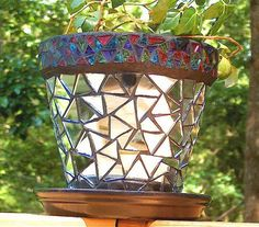 Mirrored Stained Glass Flower Pot