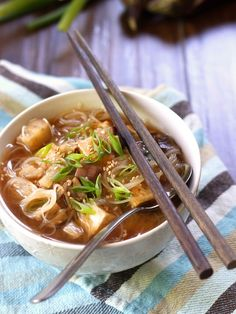 Japanese Eggplant Miso Noodle Soup - This savory vegan eggplant miso soup is made with tender sautéed Japanese eggplant, crispy pan-fried tofu and rice noodle vermicelli in a flavorful garlic-ginger miso broth. Miso Noodle Soup, Rice Noodle Soups, Tofu Soup, Udon Noodles, Soup Recipes, Whole Food Recipes, Vegetarian Recipes, Healthy Recipes, Asian Recipes