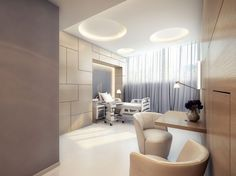 Office & Workspace, Extra Modern White Surgery Clinic Interior Design: Contemporary White Bed With Modern Clinic Stuff - Tetris wall! Clinic Interior Design, Clinic Design, Medical Office Design, Healthcare Design, Interior Exterior, Modern Interior, Modern Hospital, Cabinet Medical, Room Furniture Design