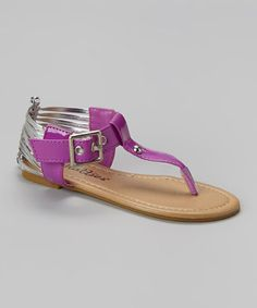 Love this Purple & Silver Caged Heel Sandal by Chatties on #zulily! #zulilyfinds