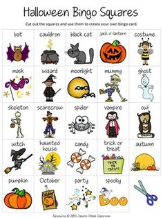 Halloween Free Create Your Own Luck Bingo - includes 24 Halloween images + vocabulary words + a blank MY BINGO CARD template for students to make their own Halloween bingo cards. Halloween Bingo Cards, Halloween Vocabulary, Halloween Worksheets, Theme Halloween, Halloween Words, Halloween Games, Halloween Activities, Holidays Halloween, Halloween Crafts
