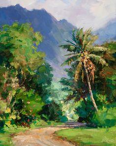 Watercolor Landscape Paintings, Abstract Landscape, Watercolor Art, Hawaii Painting, Jungle Art, Hawaiian Art, Caribbean Art, Tropical Art, Fine Art