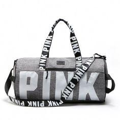 New Victoria's Secret Love Pink Duffel Bag, Gym Bag - Grey Pink Duffle Bag, Canvas Duffle Bag, Bags Online Shopping, Shopping Bag, Cute Purses, Purses And Bags, Backpack Bags, Tote Bag, Duffel Bag