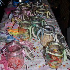 Sweet jars on the wedding sweet table