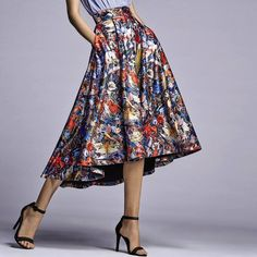 Become a walking work of art with the #SaksExclusive Flora Printed Midi Skirt by Alice + Olivia. http://s5ave.nu/6181NFAX