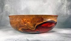 """""""Burly red elm bowl with food safe General Finishes Wood Bowl Finish and Alumilite Corporation epoxy, dye and pearlescent powder. General Finishes, Wood Bowls, Salad Bowls, Wood Turning, Safe Food, Wood Crafts, Decorative Bowls, Objects, It Is Finished"""