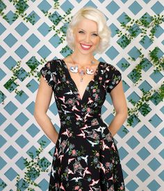 Shop retro dresses, vintage inspired women's clothing, rockabilly wear, retro shoes and corsets at Trashy Diva online or in our New Orleans stores. 1940s Dresses, Short Sleeve Dresses, Dresses With Sleeves, 40s Fashion, Vintage Fashion, Vintage Style, 40s Mode, Bird Dress, Trashy Diva