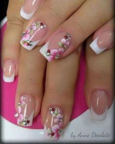 Pink Nail Art, Glitter Nail Art, Pink Nails, Pretty Nail Art, Cute Nail Art, Flower Nail Designs, Nail Art Designs, Jolie Nail Art, Nagellack Design