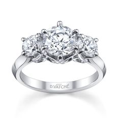 18K White Gold Designs by Vatche 3 Stone Swan Diamond Engagement Setting by Vatche