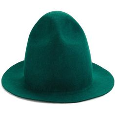 Joshua Sanders Forest Green Wool Pharrell Hat ($235) ❤ liked on Polyvore featuring accessories, hats, green, crown hat, graduation hat, wool hat, joshua sanders and green hat