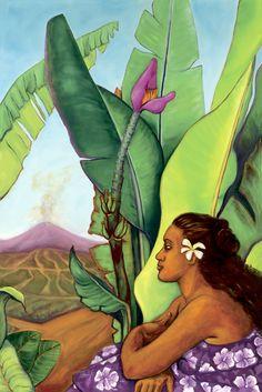 """Hawaii -Anna Fuernsteiner - """"Majestic in the Calm"""" Hawaiian Homes, Hawaiian Art, Hawaiian Quilts, Vintage Hawaii, Caricatures, Illustrations, Illustration Art, Polynesian Art, Tropical Art"""