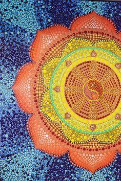 Dharma wheel Mandala Yin Yang Dot Art