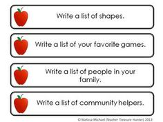 Free download- list writing prompts, can use with movable alphabet