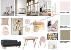 Déco tendance rose pâle, kaki, cuivre, bois blond.  ÂM DECO, Amélie Colombet.