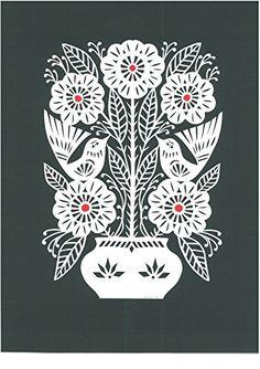 """Papercut """"Poppies in the Flower Pot"""" by famous Lithuanian artist Odeta Tumenaite-Brazeniene"""
